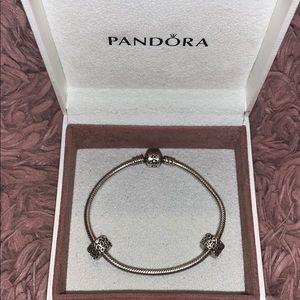 Authentic Pandora Snack Chain w/ 2 Clips